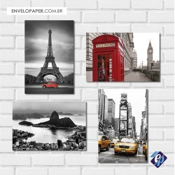Kit com 4 Placas Decorativas 20x30cm - viagens