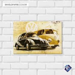 Placa Decorativa - kombi e fusca