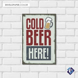 Placa Decorativa - cold beer here