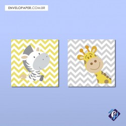 Kit com 2 Placas Decorativas 30x30cm - animais 3