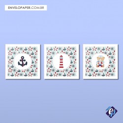 Kit com 3 Placas Decorativas 30x30cm - naval